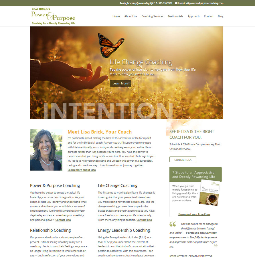 Life Coaching Website Home