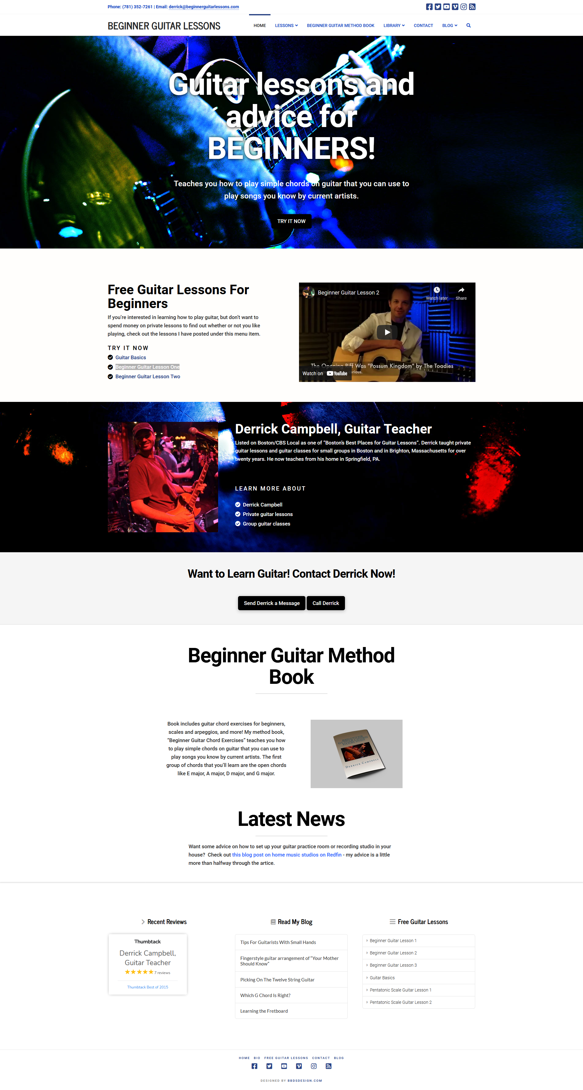Beginner Guitar Lessons - Website for Musician