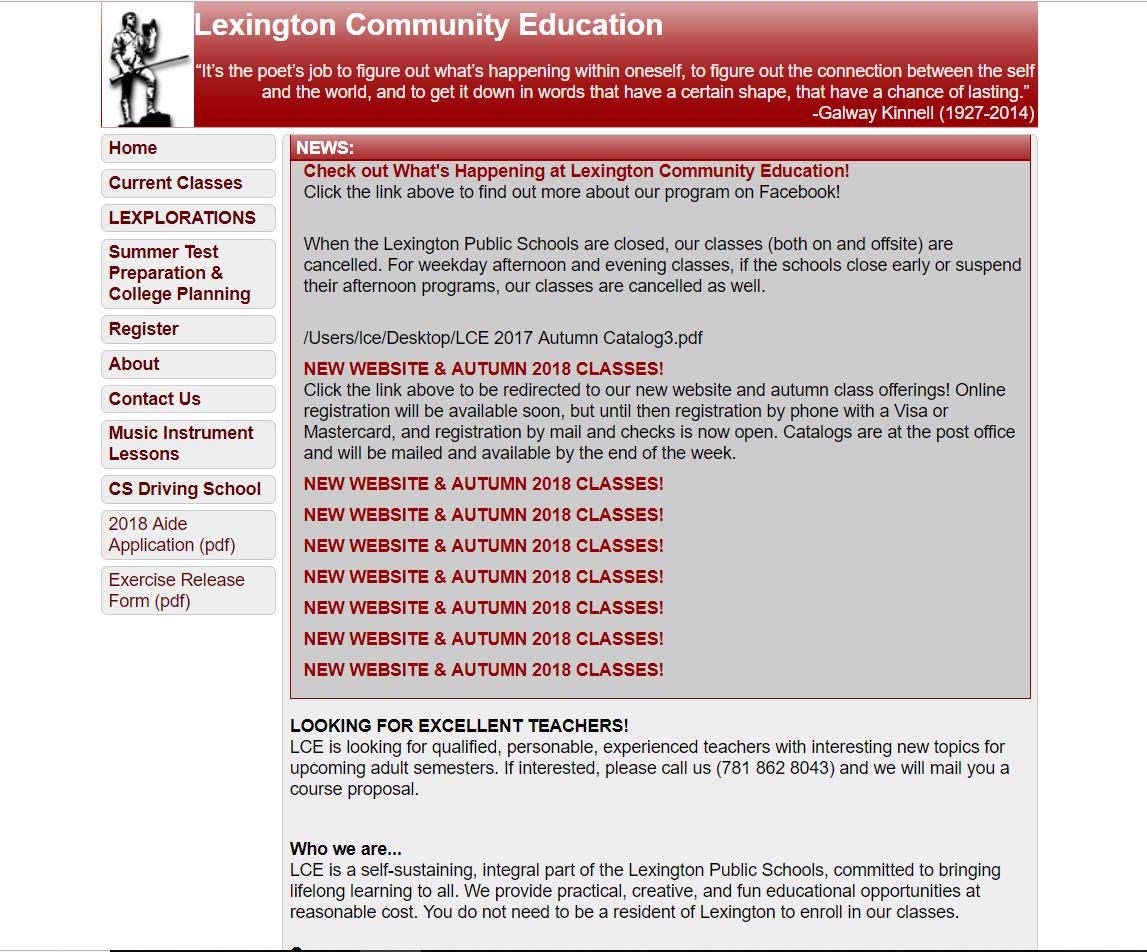 Lexington Community Education old website