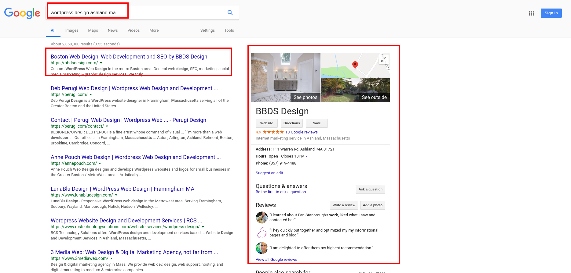Sidebar business listing on Google search results page