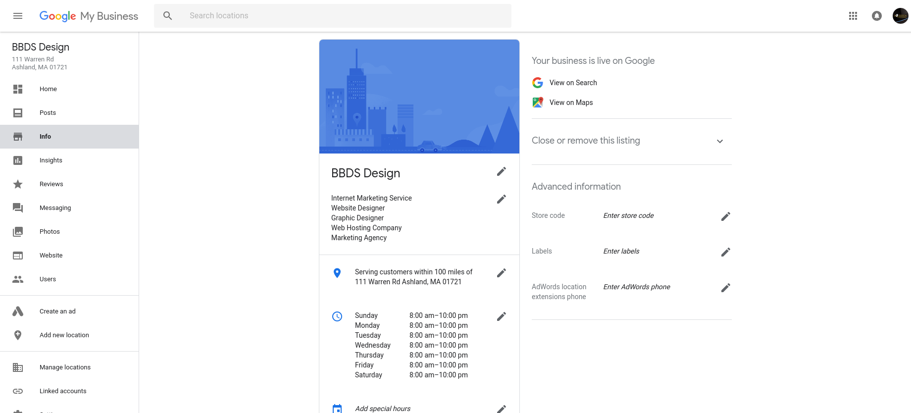Google My Business account interface