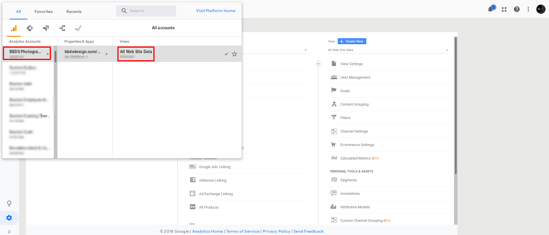 navigating to google analytics admin panel