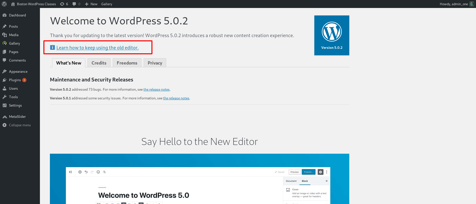 Top of WordpRESS 5 WELCOME SCREEN