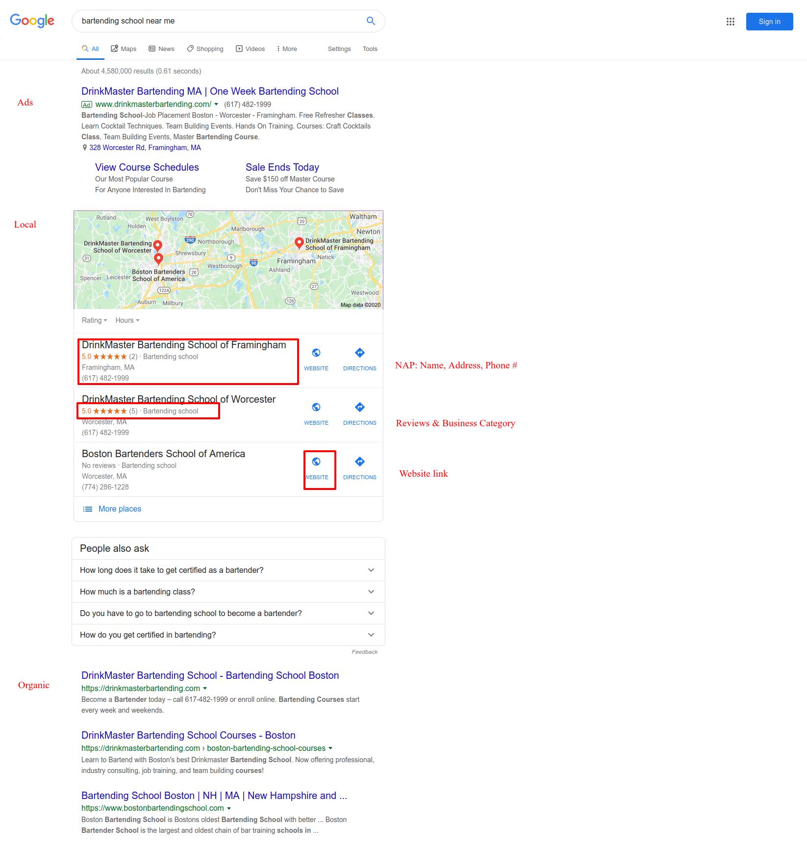 Google search local box example