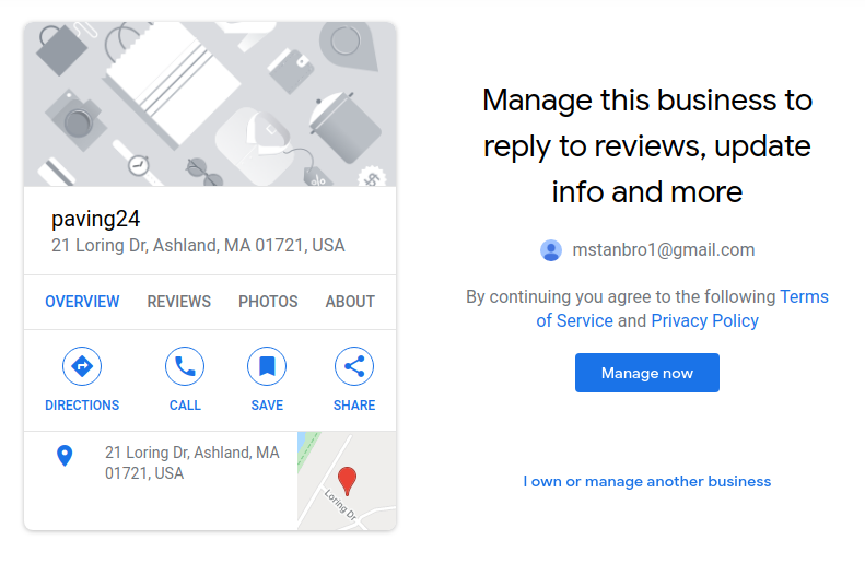claim this business page - Google My Business