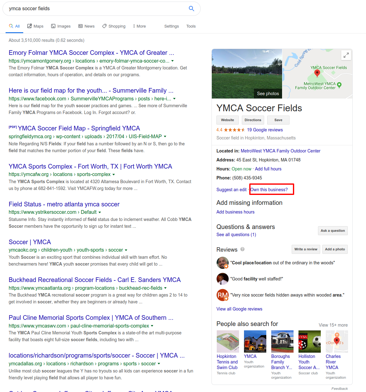 local business listing sidebar in Google SERP