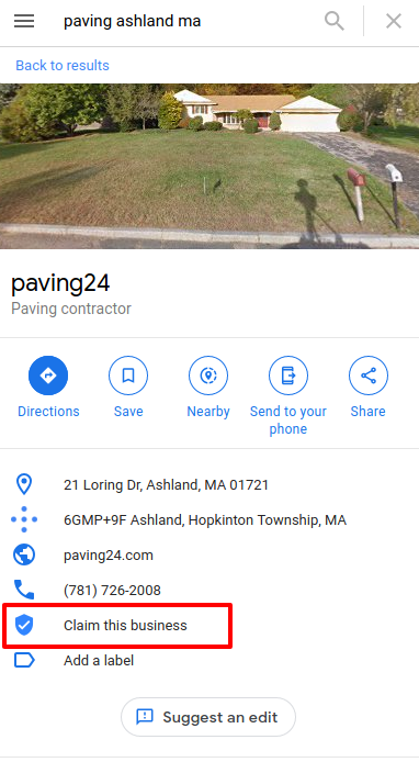 Google Maps unclaimed business listing - logged in to Google account