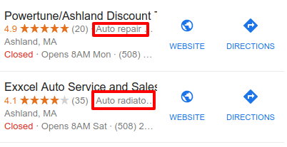 Example of categoreis and review ratings for Google local business listings