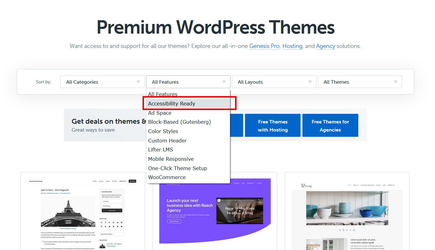 StudioPress themes page